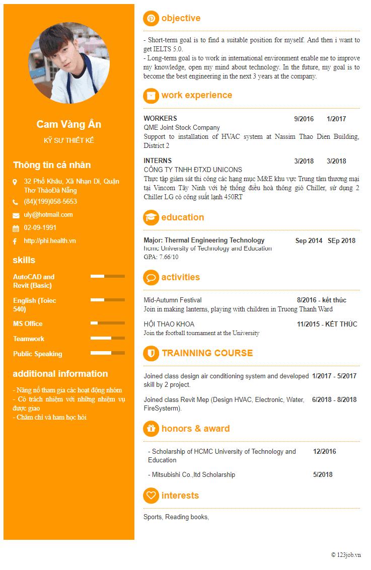 CV xin việc tiếng Anh